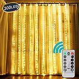 OOTOO Lichtervorhang LED Lichterketten Lichterkettenvorhang Warmweiß Innen außen für Party Schlafzimmer Deko IP65 Wasserfest 8 Modi