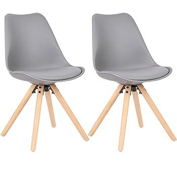 Schon WOLTU® BH52gr 2 2 X Esszimmerstühle 2er Set Esszimmerstuhl Mit Sitzfläche  Aus Kunstleder Design Stuhl Küchenstuhl Holz,, Grau