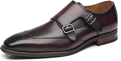 La Milano Mens Double Monk Strap Slip on Loafer Cap Toe Leather Oxford Formal.
