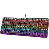 OMOTON Teclado Mecánico,Mini Gaming Teclado RGB-LED, Macro Personalizada-Pequeño Gaming Teclado Español con Azul Interruptor