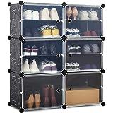 Meerveil Armoire à Chaussures, Meuble Chaussures, Étagère à Chaussures avec 6 Cubes, Rangement Chaussures à Emboîtement, Armo