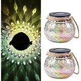 Tomshine szklana latarnia solarna, szklana lampa stołowa, dekoracja IP65, wodoszczelna, do ogrodu, na podwórko, 2 sztuki