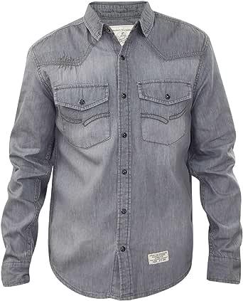 Jack South Mens Denim Shirts Cotton Long Sleeve Stud Button Down Top