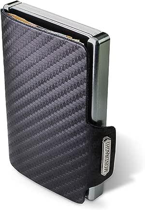 """Mondraghi® Portafoglio RACING CARBON   Protezione RFID integrata nella clip portabanconote""""Stop and Go""""   Scocca in alluminio   Miniwallet in pelle"""