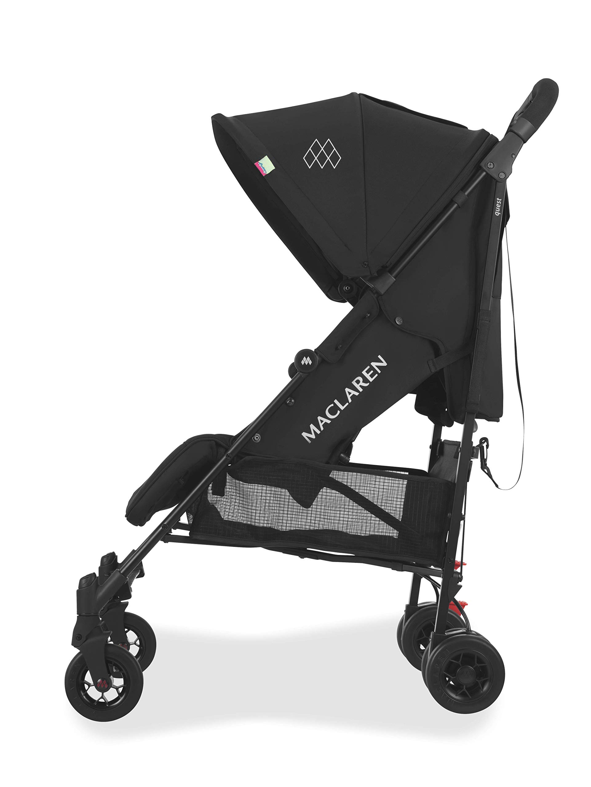Maclaren Quest Arc Stroller- Ideal for Newborns up to 25kg with extendable UPF 50+/Waterproof Hood, Multi-Position seat and 4-Wheel Suspension. Maclaren Carrycot Compatible. Accessories in The Box Maclaren Lightweight and compact. ideal for newborns and children up to 25kg. you can do it all with one-hand- open, close, push and adjust the seat, footrest and front safety lock Comfy and perfect for travel. the quest arc's padded seat reclines into 4 positions and converts into a new-born safety system. coupled with ultra light flat-free eva tires and all wheel suspension Smart product for active parents. compatible with the maclaren carrycot. all maclaren strollers have waterproof/ upf 50+ hoods to protect from the elements and machine washable seats to keep tidy 2