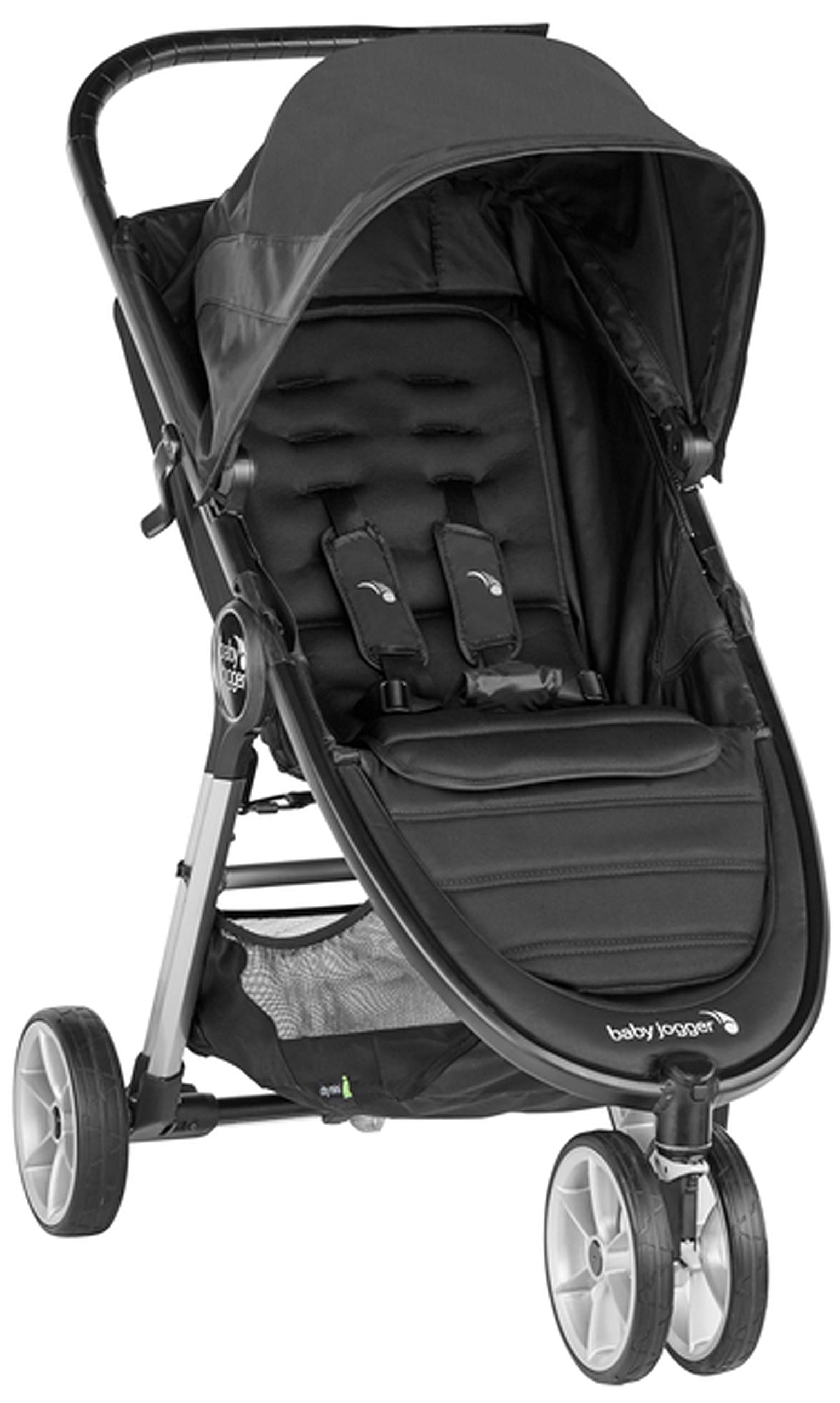 baby jogger City Mini 2 Single Stroller Jet Baby Jogger The baby jogger city mini 2 has an all new lightweight and compact design with the signature one-hand compact fold, with an auto-lock it's remarkably nimble and ready for adventure Lift a strap with one hand and the city mini 2 folds itself: simply and compactly. The auto-lock will lock the fold for transportation or storage The seat, with an adjustable calf support and near-flat recline, holds a child weighing up to 22kg and includes a 5-point stroller harness to keep them comfortable and safely secured 2