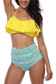 2e2c188be782 AMAGGIGO Maillot de Bain pour Les Femmes Taille Haute Halter Vintage Push  Up Bikini Ensemble Dames