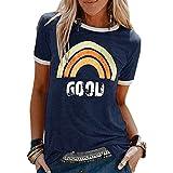 heekpek Maglietta Manica Corta Donna Arcobaleno T-Shirt,Cotone Maglietta Elegante Donna,Casual T-Shirt Estiva con Modello Vin