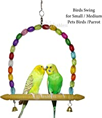 IRABLESS Birds Swing for Lovebird, Medium (with Small Bells)