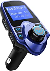OMORC Bluetooth FM Transmitter Radio Adapter für iPhone Android-Blau