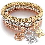 Braccialetto di fascino per le donne, Bracciale a catena di mais allungato Braccialetto in oro o argento per amicizia