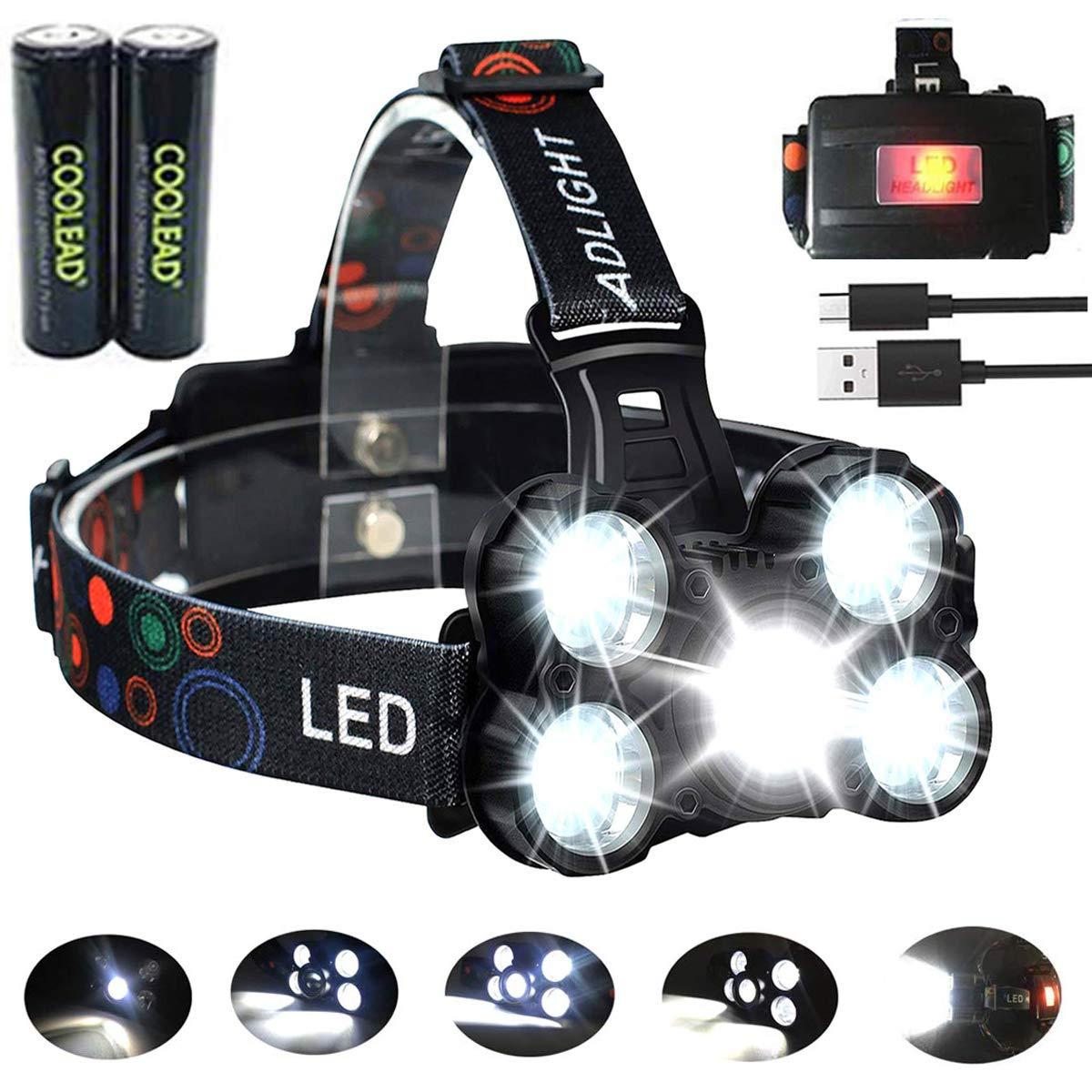 Linterna frontal LED Recargable de Trabajo, 8000 Lúmenes, 4 Modos de Luz con Flash, Zoom in/out, Ligera Elástica, Impermeable para Ciclismo, Correr, Deportes Nocturnos…