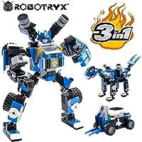JitteryGit Robot Jouet | 3 en 1 Set créatif divertissant | Jeux de Construction garçons de 6 à 12 Ans Cadeau Jouet Enfants | Kit d'affiches Gratuit Inclus