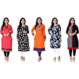 Kesari King Women's Crepe A-Line Semi-stitched Kurti (Pack of 5) (1002,3,17,25,40_Multicolored_Free Size)