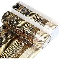 10 Rouleaux Washi Tape Set, 5 M Décoratif Feuille D'or Washi Tape Masking Tape Ruban Décoratif Pour Scrapbooking…
