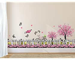 Amazon Brand - Solimo PVC Vinyl Wall Sticker for Living Room (Pink Floral Picket Fence with Butterflies, Ideal Size on Wall: