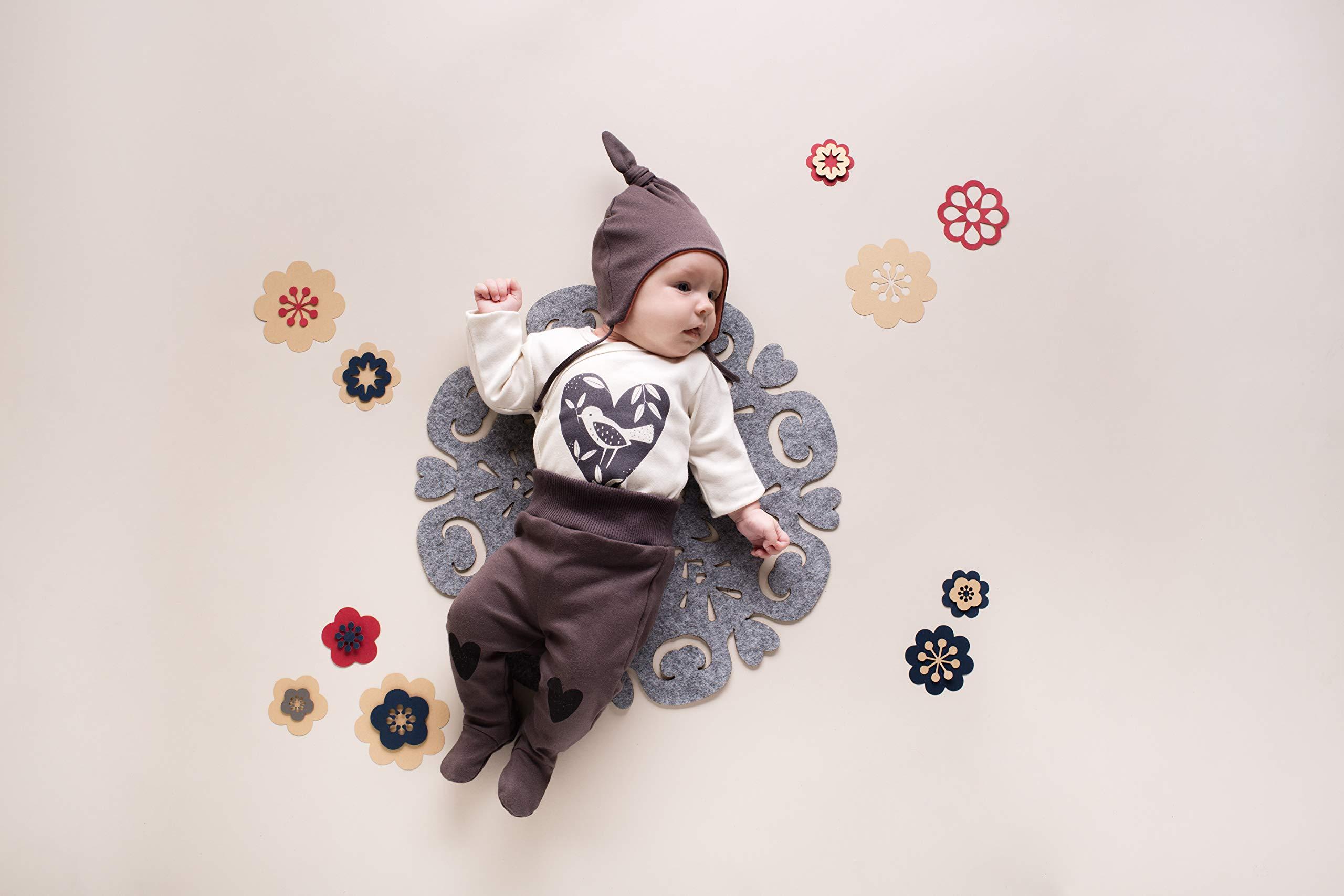 Pinokio - Little Bird - Pantalones Niñas Bebé Baby Girls Pelele Marrón Rojo con Corazón 100% Algodón 56 62 68 74 cm 2