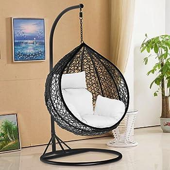 Tinkertonk Garden Patio Rattan Swing Chair Wicker Hanging Egg Chair Hammock  W/Cushion U0026 Cover Indoor Or Outdoor   Max.150kg Black