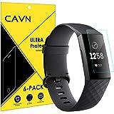 CAVN Kompatybilny z folią ochronną na wyświetlacz Fitbit Charge 3/Charge 4 (6 szt.), pełne pokrycie elastyczna folia ochronna