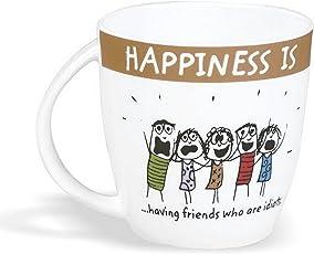 Clay Craft - Happiness Is, Having Friends Bone China Milk Mug, 270ml/5.6cm, Multicolour