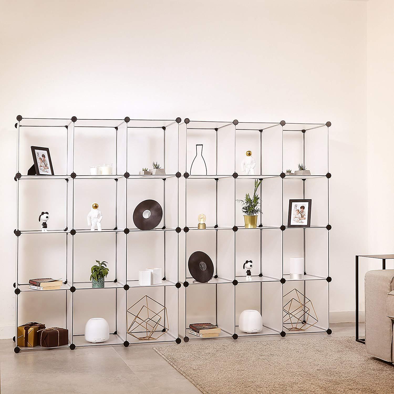 Cubi Plastica Componibili.Homfa Armadio Modulare Con 12 Cubi Scaffale Componibile Con Ante Guardaroba Organizzatore Economico Strutture Per Cabine In Plastica Bianco