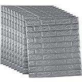 10 piezas ladrillo 3d adhesivo pared, DIY Autoadhesivo Panel Pared Impermeable, Wall Stickers Moderno Decoración para Cuarto