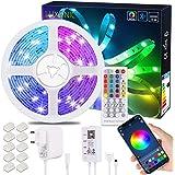 LED-remsa Bluetooth, LUXONIC 15M / 49.2ft RGB LED-remsa med APP-kontroll, 40-tangenters IR-fjärrkontroll, Bluetooth-kontrolle