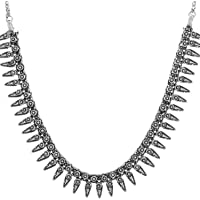 Ganapathy Gems Oxodised Silver Strand Necklace for Women