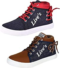 Tempo Men's Canvas Sneakers - Pack of 2