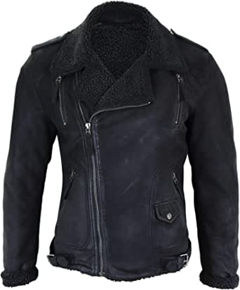 Mens Black Cross Zip Real Leather Biker Jacket Fleece Lined Fitted Smart Casual