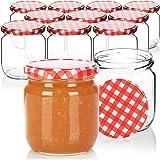 COM-FOUR® 12x Bocaux maçon avec bouchon à vis à carreaux rouge/blanc - pot - TO Ø 82 mm - jusqu'à env. 425 ml
