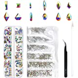 120 Pcs Multi Shapes Glass Crystal AB Rhinestones For Nail Art Craft,