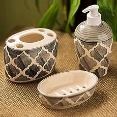 ExclusiveLane 'Moroccan Essentials' Handpainted Ceramic Bathroom Accessory Set Of 3 -Bath Set Liquid Soap Dispensers Ceramic For Bathroom Soap Dish Toothbrush Holders Soap Holders Bathroom Dispensers Soap Tray Bathroom Accessory Set For Home