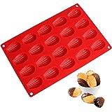 SveBake Mini Madeleine Bakeware - Plateau en silicone pour moule à pâtisserie Madeleine en silicone Bakeware 20s avec revêtement antiadhésif, rouge