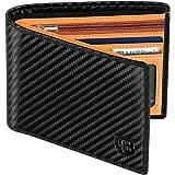 Cartera Hombre, BIAL RFID Cuero Billetera Hombre Piel, con 8 Ranuras para Tarjetas De Crédito 2 Ventanas De Identificación Ta