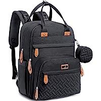 Baby Changing Bag Backpack, BabbleRoo Nappy Changing Back Pack Diaper Bags with Changing Mat & Pacifier Holder for Mom & Dad (Black)