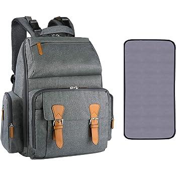 Estarer Baby Changing Backpack Bag with Changing Mat,Water Resistant Diaper Bag Large Nappy Rucksack for Pram Grey
