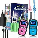 Wishouse Walkie Talkie Niños Recargable USB 2 Unidades,Portátil Transmisores-Receptores Largo Alcance con Cordones,Juguetes d