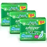 Whisper Ultra Clean Sanitary Pads for Women, XL+ 44 (Pack Of 3) Napkins