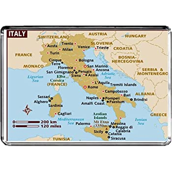 Monaco Italien Karte.Cfl M099 Karte Von Italien Kuhlschrankmagnet Italien Reise