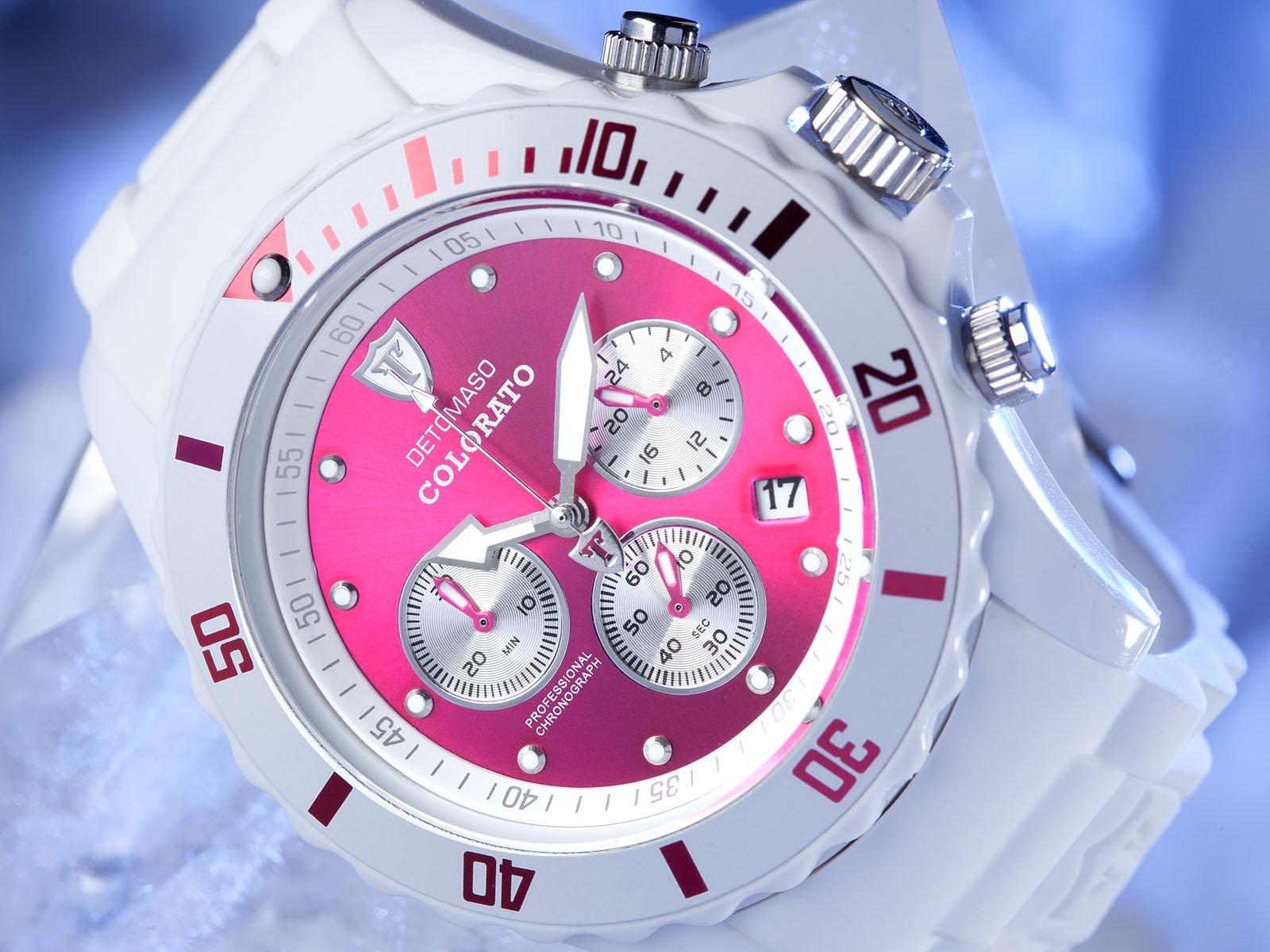 Detomaso DT2019-L – Reloj analógico de Cuarzo Unisex con Correa de Silicona, Color Blanco
