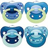 NUK chupetes para bebés noche y día | 18-36 meses | Chupetes que brillan en la oscuridad | Silicona sin BPA | Rosa | 4 unidad