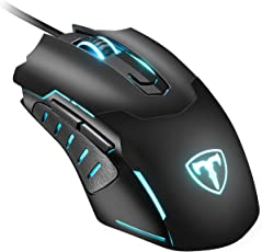 Wired Gaming Mouse, PICTEK USB Optical Gaming Mice with 2400DPI, 6 Colors LED Light, 4 Adjustable DPI Levels, Suitable for Win 10/8/7/XP, Vista7/8, Linux (Black)