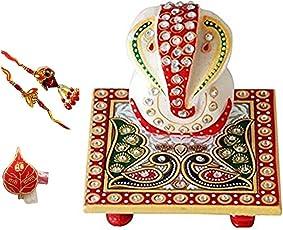 Purpledip Marble Chowki Ganesha, 2 Rakhi & Roli Chawal in Auspicious Red Packing (rakhi1c)