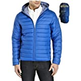 JACK IN THE BAG Men's Hooded Panel Plain Feather Light Quilted Padded Puffer Jacket Coat for all Weathers with Pack Away Bag