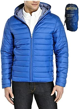 JACK IN THE BAG Men's Hooded Panel Plain Feather Light Quilted Padded Puffer Jacket Coat for all Weathers with Pack Away Bag M