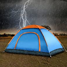 Saysha 4 -Person Family Camping & Hiking Tent/All Weather Dome Backpacking Tent (Waterproof, with Floor Mat & Net Window), Multi Color