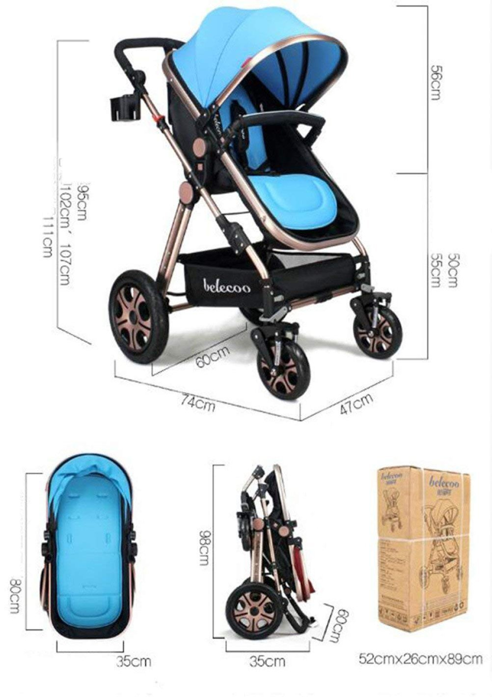 Baby Cart High Landscape Baby Cart Travel System Can Sit and Lie Down Children's Cart Four Seasons Universal Lightweight Stroller Adjustable Baby Stroller(Blue)  Travel friendly lighting design, perfect for travel and day trips. Convenient one-handed and automatic folding, perfect for car travel and vacation.. Easy to push and pull, comfortable grip, heat resistant foam handle and smooth pulley. Simple, 1 vertical folding, automatic locking, easy to carry. 3