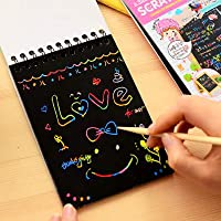 Asian Hobby Crafts Rainbow Art Scratch Paper Book Sheets with Stylus, 8 Pages :Pack of 1pcs : Size 10.5 X 7.5 inches