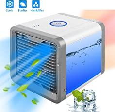 Piyuda Portable Air Conditioner with Built-In LED Mood Light (White)
